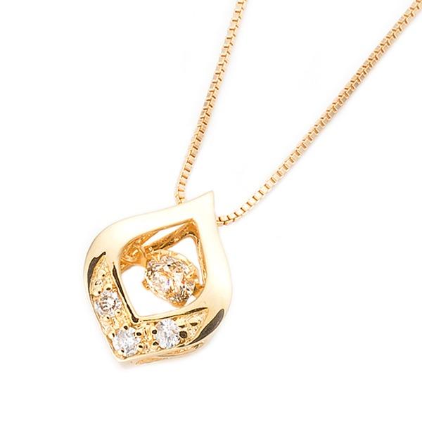 一粒 0.1ct イエローゴールド ダンシングストーン 雫モチーフ ネックレス ダイヤモンド 鑑別カード付き ペンダント 揺れるダイヤ ダイヤモンドスウィング K18