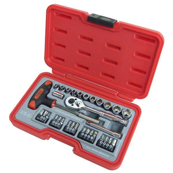 (業務用5個セット) H&H ソケットレンチセット/作業工具 【32個入り】 差込角:6.35mm H-2032 1/4