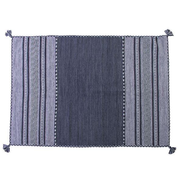 シェニールラグマット/絨毯 【190cm×130cm ネイビー】 長方形 コットン製 TTR-103NV