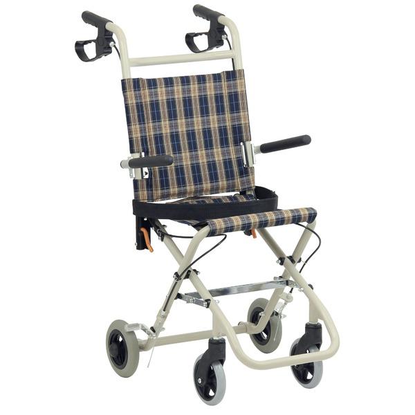 コンパクト介助車/介助式車椅子 【テイコブアルミ製】 折り畳み 跳ね上げ式肘掛け シートベルト付き 〔介護用品 福祉用品〕