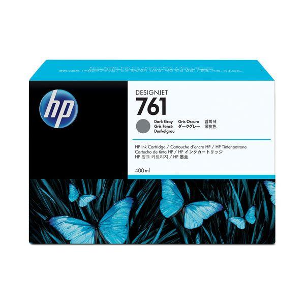 (まとめ) HP761 インクカートリッジ ダークグレー 400ml 染料系 CM996A 1個 【×3セット】