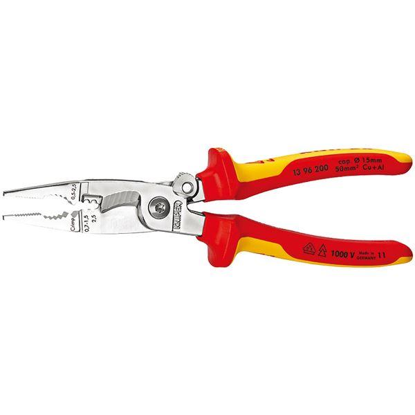 KNIPEX(クニペックス)1396-200 絶縁エレクトロプライヤー(スプリング付) (SB)