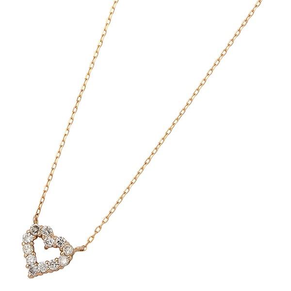ダイヤモンドペンダント ネックレス 12粒 0.2ct K18 ピンクゴールド ハートモチーフ 人気のハートダイヤ