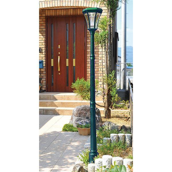 ソーラーライト/庭園灯 【ロングタイプ】 高さ183cm LEDライト 電源不要 ヨーロピアン調 グリーン 〔玄関 庭 ガーデニング〕