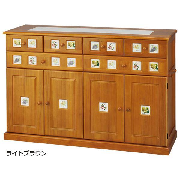 南欧風キッチンカウンター/キッチン収納 【幅120cm ライトブラウン】 木製 タイル貼り天板 隠しキャスター付き