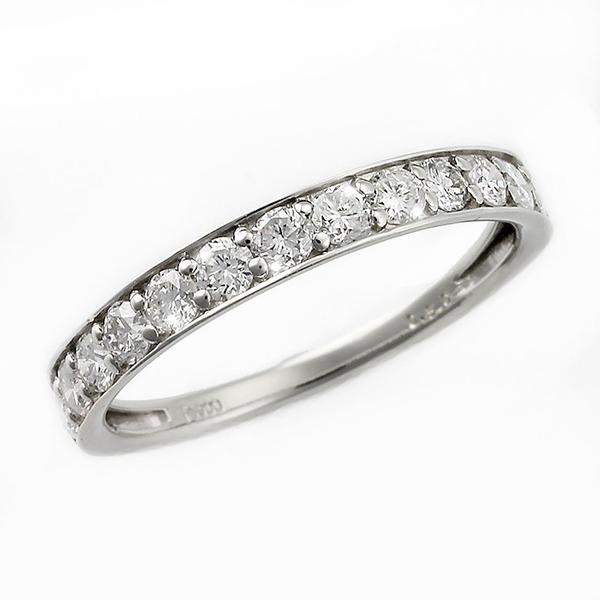 プラチナ 大粒 1ct ハーフエタニティリング リング サイズ#13 ハーフエタニティ ダイヤ合計13石 Pt950 13号 ダイヤモンド