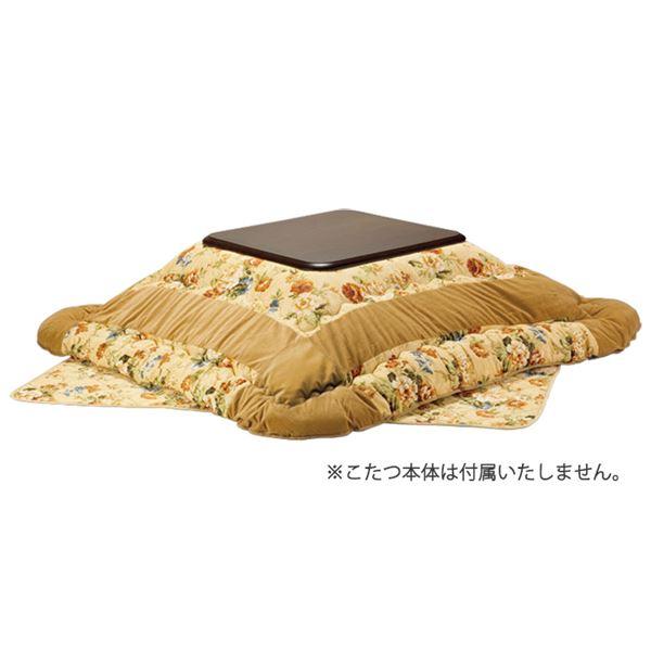 洗える ベージュ】 〔リビング〕 【掛け布団 こたつ布団/寝具 幅120cm用 『ラウンドタイプ花柄パッチ』 単品 日本製