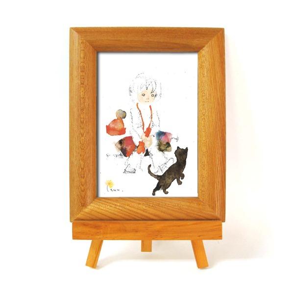 優しい木製フォトフレーム 『4年保証』 ■いわさきちひろナチュラルフォトフレームイーゼル付 黒い猫と少女 定番の人気シリーズPOINT ポイント 入荷