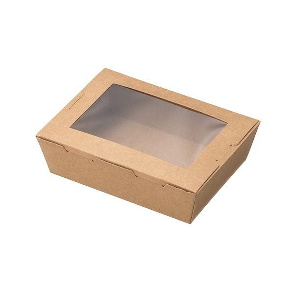 (まとめ)水野産業 窓付きランチボックス(XS)クラフト 1パック(50枚)【×5セット】