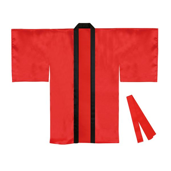 (まとめ)サテンロングハッピ袖付 赤 Lサイズ(約110cm) (ハチマキ付) 【×10個セット】