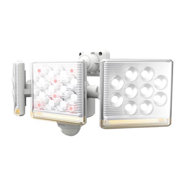 ムサシ LED センサーライト コンセント式 12W×3灯 フリーアーム式 リモコン付