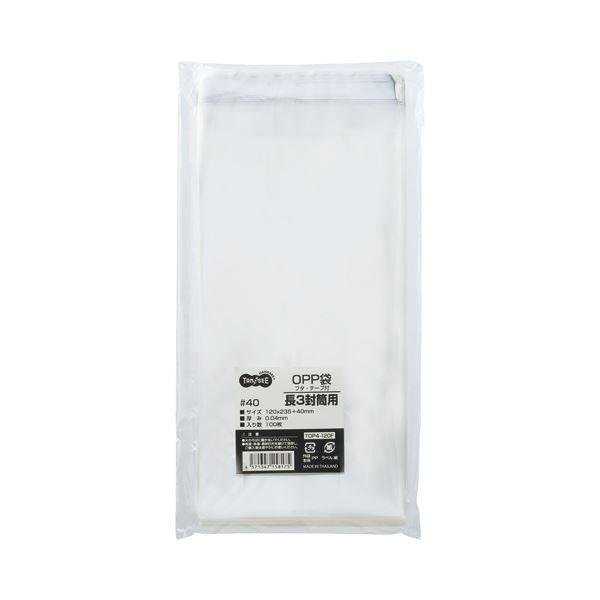 (まとめ) TANOSEE OPP袋 フタ・テープ付長3 120×235+40mm 1パック(100枚) 【×30セット】