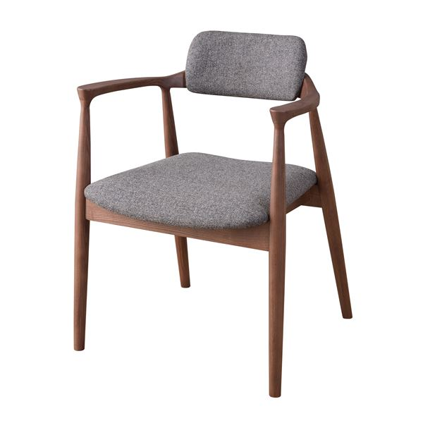ダイニングチェア/食卓椅子 【グレー】 幅57cm×奥行46cm×高さ75cm×座面高43cm 肘付き 木製素材 〔リビング〕 JPC-211GY