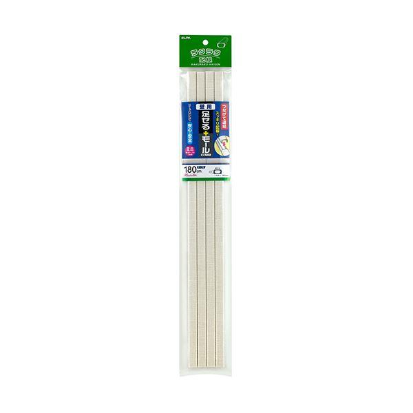 (まとめ)ELPA 足せるモール 壁用ミニ45cm テープ付 壁紙クロス PSM-K045P4(CR)1パック(4本)【×10セット】