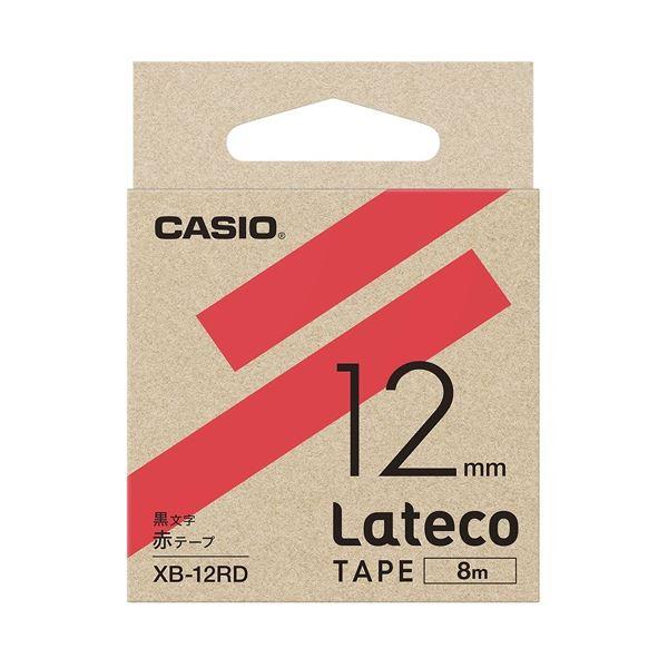(まとめ)カシオ計算機 ラテコ専用テープXB-12RD赤に黒文字(×30セット)