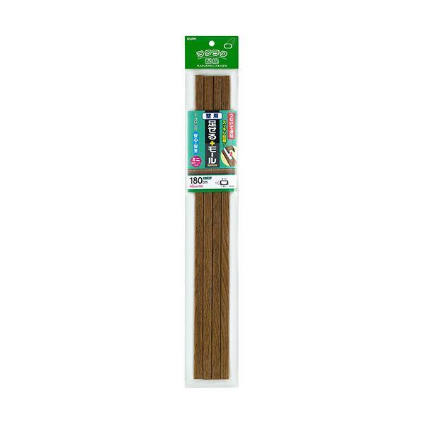 (まとめ)ELPA 足せるモール 壁用ミニ45cm テープ付 木目調ナチュラル PSM-M045P4(NA)1パック(4本)【×10セット】