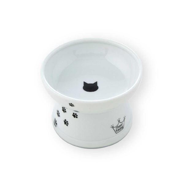 (まとめ)猫壱ハッピーダイニング 脚付フードボウル 猫柄 シリコン付き(ペット用品)【×40セット】