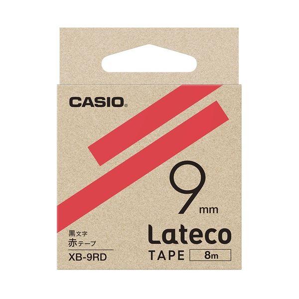 (まとめ)カシオ計算機 ラテコ専用テープXB-9RD 赤に黒文字(×30セット)