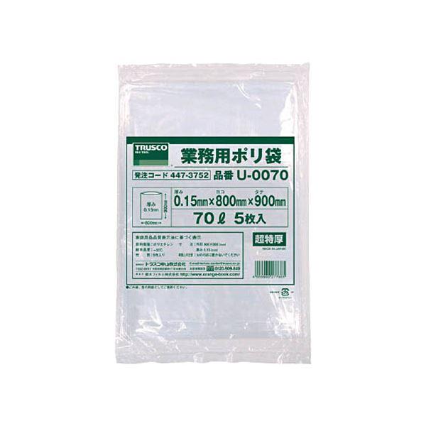 (まとめ)TRUSCO業務用ポリ袋 0.15×70L U-0070 1パック(5枚)【×5セット】