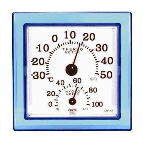 大工道具 日本最大級の品揃え 測定具 温度計 他 4955286804858 好評受付中 ミニブルー CR-12B 温湿度計クリア CRECER