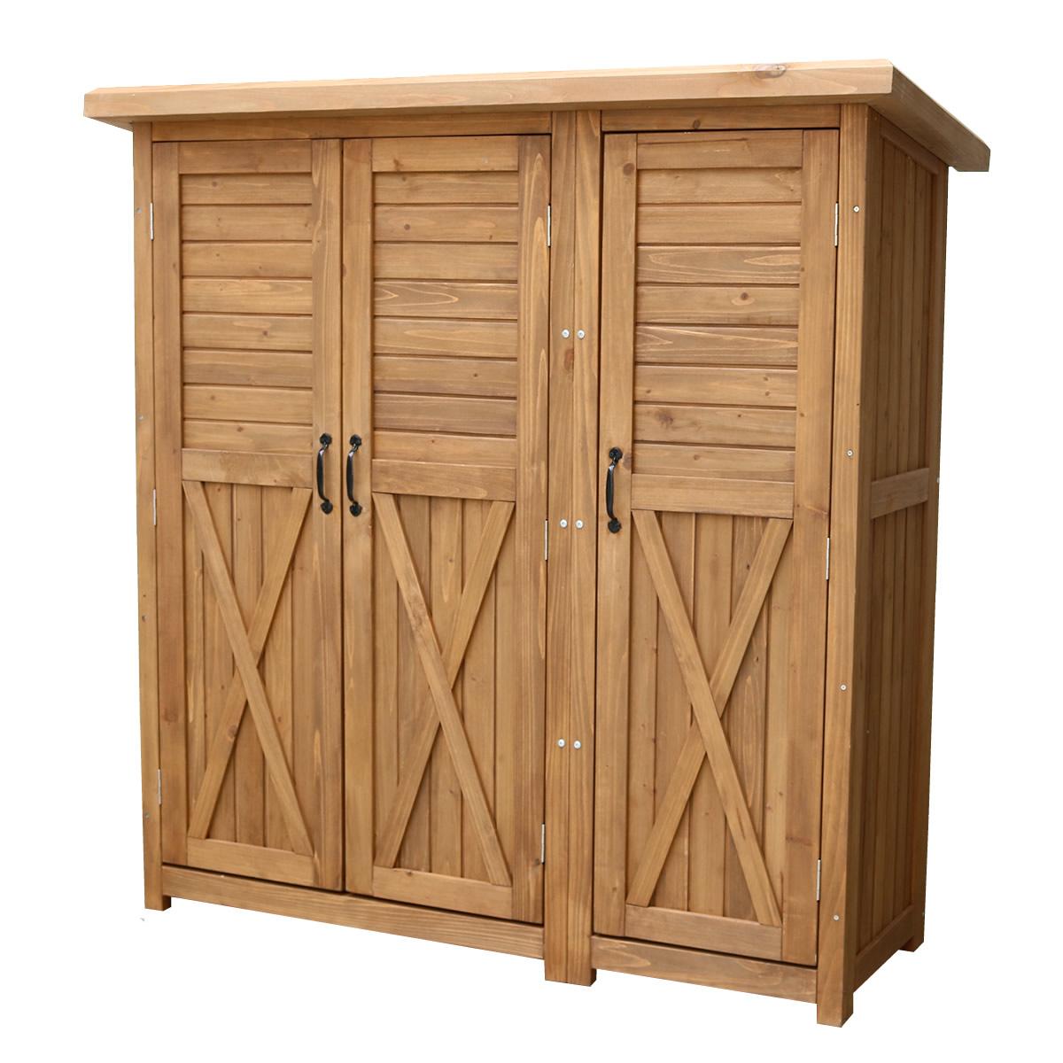 人気提案 KTDS1600:西新オレンジストア 木製大型収納庫(三つ扉)-エクステリア・ガーデンファニチャー