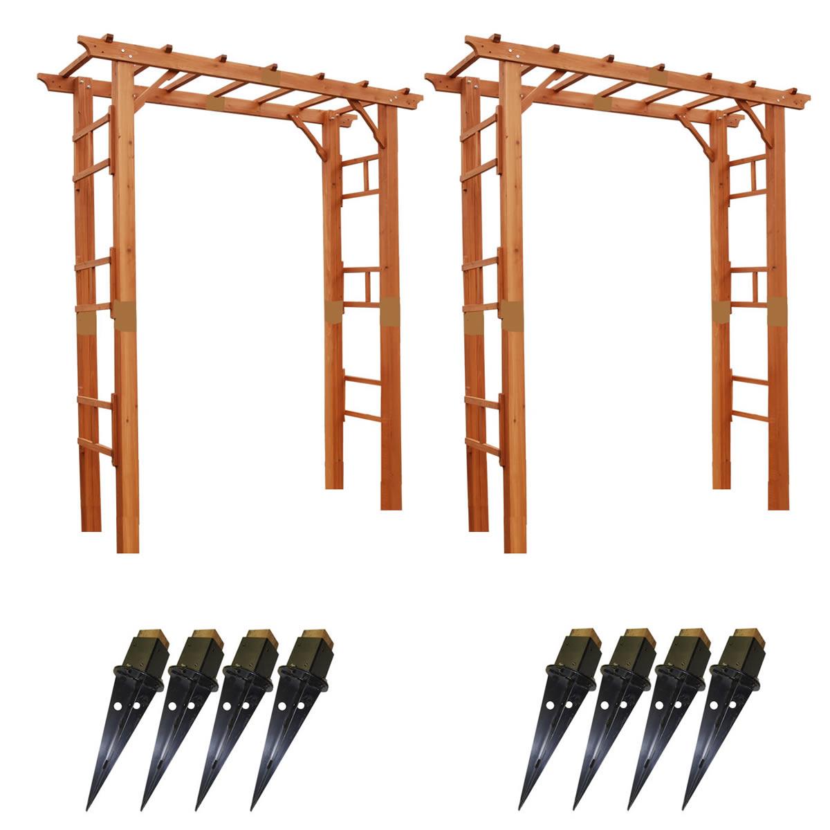 天然木製フレックスパーゴラアーチ190 2台組(埋め込み金具セット) FLPG-R1900UB-2PSET