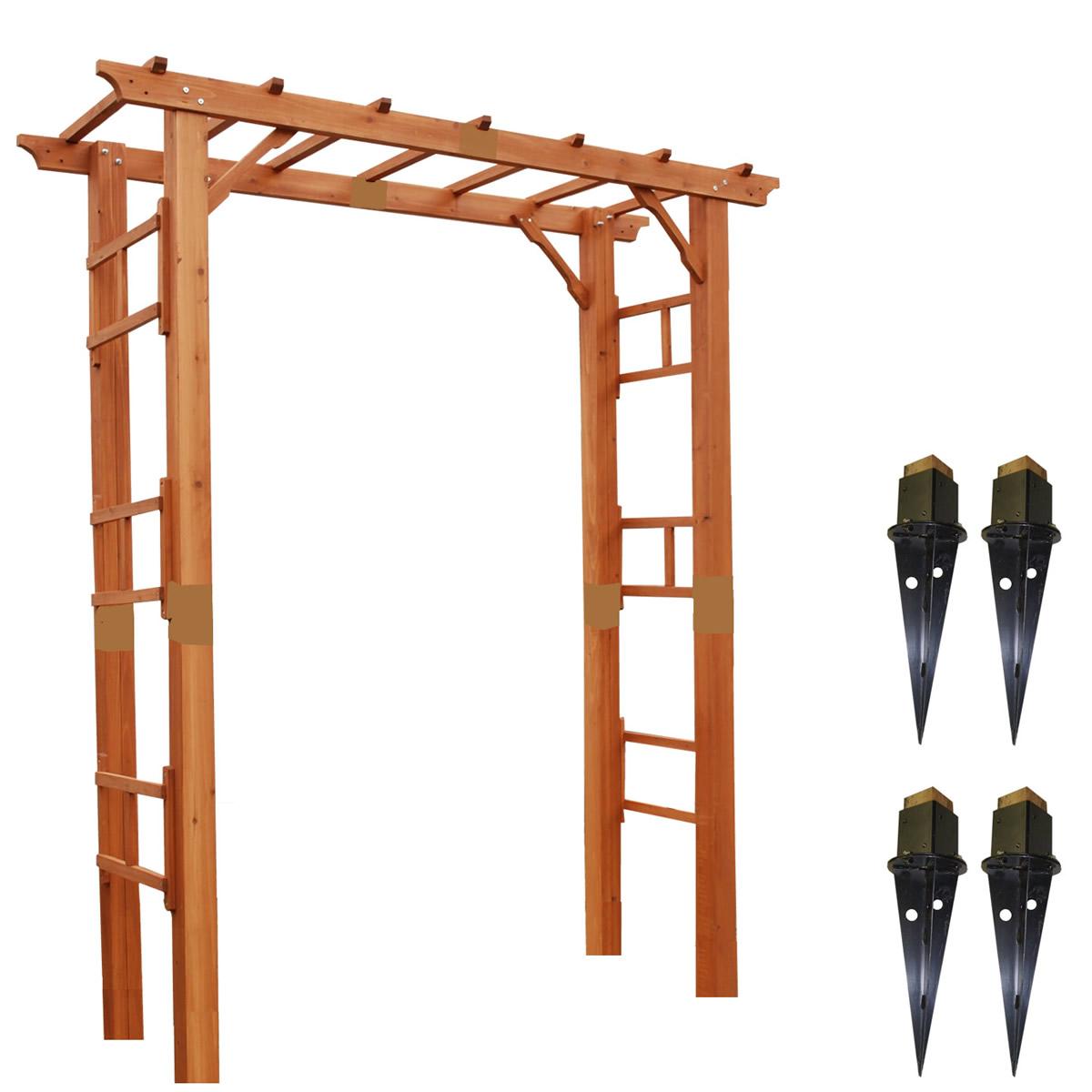 【上品】 天然木製フレックスパーゴラアーチ190(埋め込み金具セット) FLPG-R1900UB-SET:西新オレンジストア-エクステリア・ガーデンファニチャー