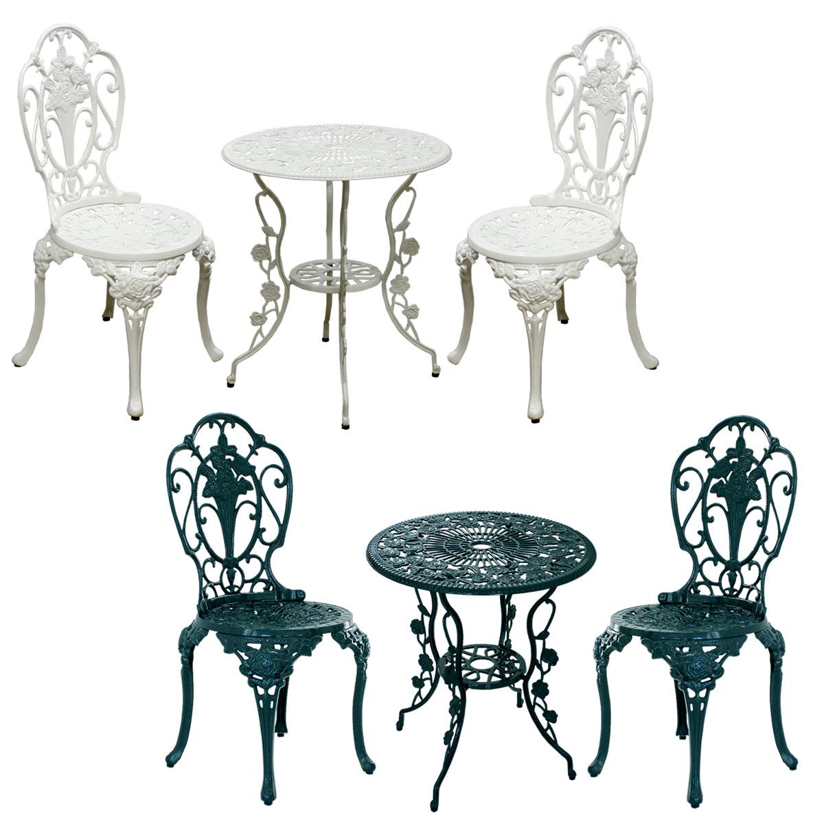 アルミ製テーブル&チェア3点セット「イングリッシュ・ローズ」 RT001-3PSET