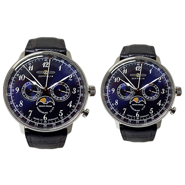 ペアウォッチ ツェッペリン ZEPPELIN 腕時計 メンズ レディース 7036-3 7037-3 ヒンデンブルク クォーツ ネイビー ブラック(バンド調整器付)