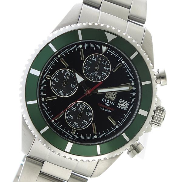 エルジン ELGIN クロノ クオーツ メンズ 腕時計 FK1418S-GR ブラック ブラック(バンド調整器付)