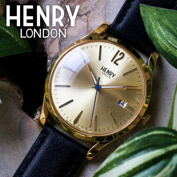 ヘンリーロンドン HENRY LONDON ウェストミンスター 39mm ユニセックス 腕時計 HL39-S-0006 ゴールド/ブラック ゴールド(バンド調整器付)