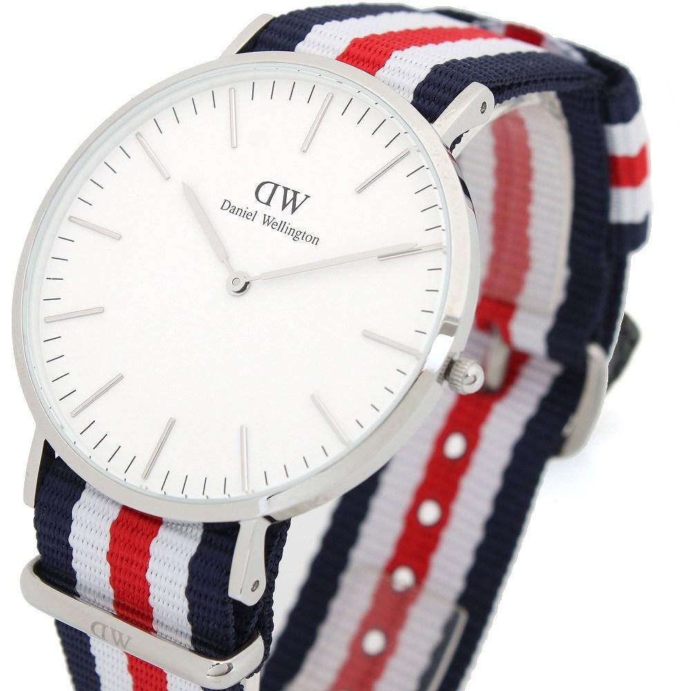 ダニエル ウェリントン カンタベリー/シルバー 40mm クオーツ 腕時計 0202DW (DW00100016) ホワイト(バンド調整器付)