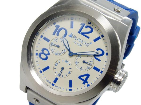 アバランチ AVALANCHE クオーツ メンズ 腕時計 AV1027-BUSIL ホワイト(バンド調整器付)