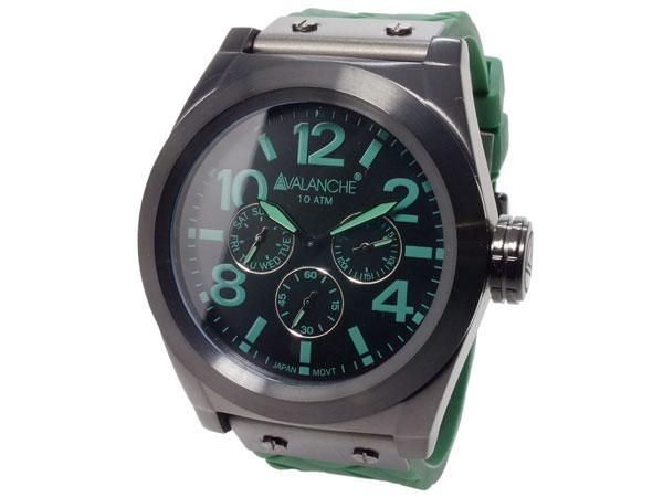 アバランチ AVALANCHE クオーツ メンズ 腕時計 AV1027-GRBK ブラック(バンド調整器付)