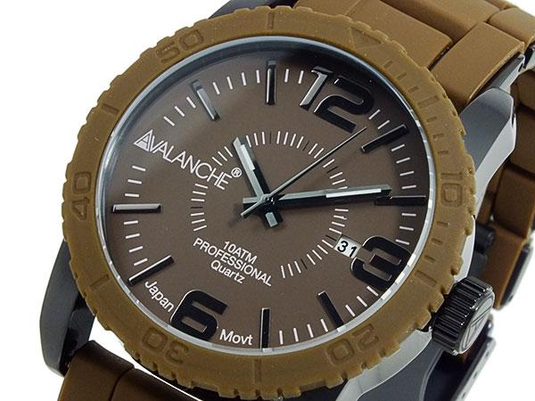 アバランチ AVALANCHE 腕時計 AV-1024-BRBK ブラウン×ブラック ブラック(バンド調整器付)