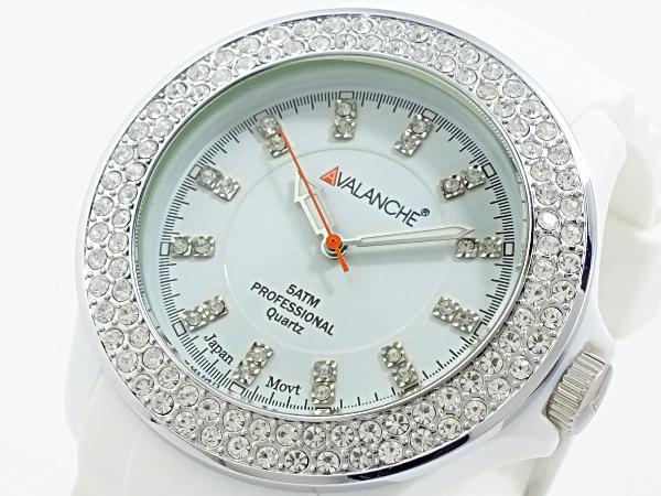 アバランチ AVALANCHE クオーツ 腕時計 AV-107S-WH-44 ホワイト ホワイト(バンド調整器付)