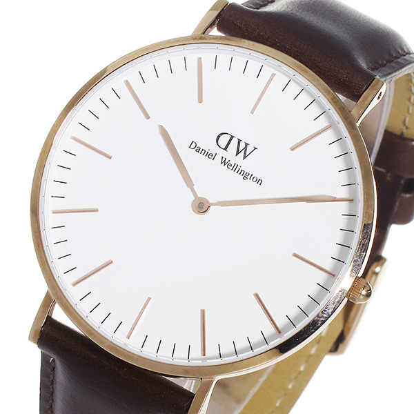 ダニエル ウェリントン ブリストル/ローズ 40mm クオーツ 腕時計 0109DW (DW00100009)(DW00600009) ホワイト(バンド調整器付)