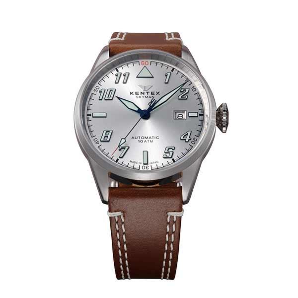 ケンテックス KENTEX 腕時計 メンズ レディース S688X-16 スカイマンパイロットアルファ SKYMAN PILOT ALPHA クォーツ シルバー ブラウン 国内正規品(バンド調整器付)