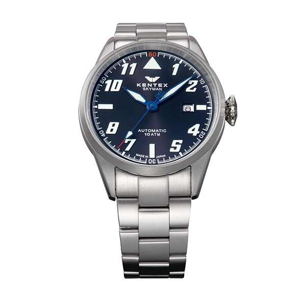 ケンテックス KENTEX 腕時計 メンズ S688X-20 スカイマンパイロットアルファ SKYMAN PILOT ALPHA クォーツ ブラック シルバー 国内正規品(バンド調整器付)