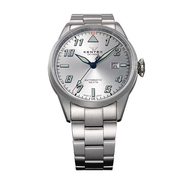 ケンテックス KENTEX 腕時計 メンズ S688X-21 スカイマンパイロットアルファ SKYMAN PILOT ALPHA クォーツ シルバー 国内正規品(バンド調整器付)