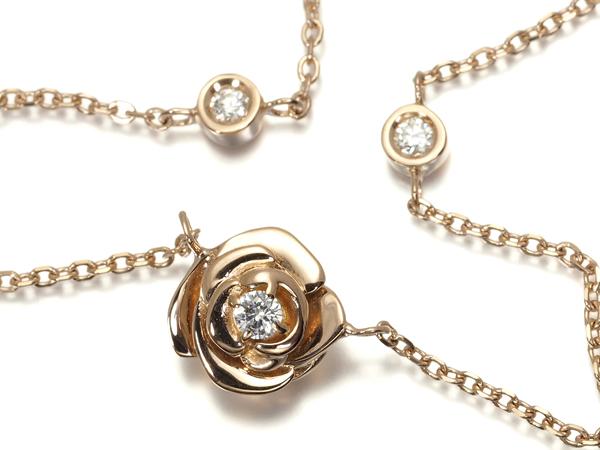 【超大幅値下げ品!】薔薇 フラワー ダイヤ ダイヤモンド 0.10ct ネックレス K18PG【中古】GENJ