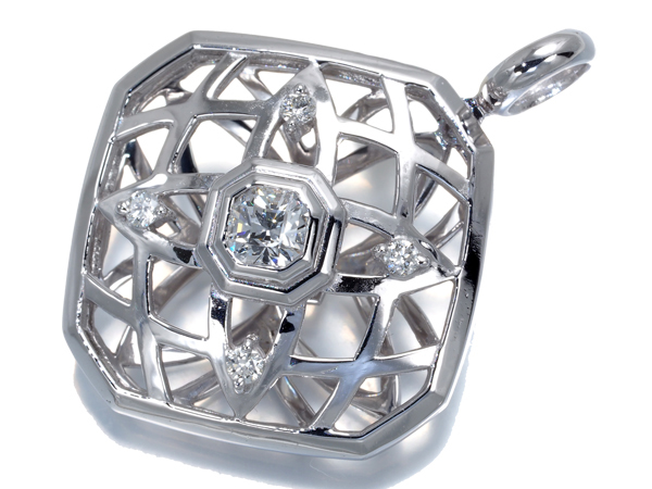 ダイヤ ダイヤモンド 0.312ct/0.09ct クロスフォーカット ペンダントトップ K18WG 鑑定書【中古】GENJ