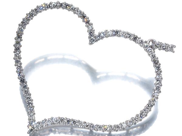 ダイヤ ダイヤモンド 1.33ct ハートデザイン ペンダントトップ K18WG【中古】GENJ