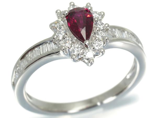 上質ルビー 0.436ct ダイヤ ダイヤモンド 0.46ct リング 指輪 Pt950/プラチナ/プラチナ【中古】GENJ