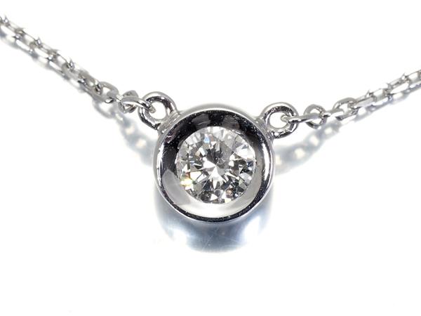 【超大幅値下げ品!】4℃ ヨンドシー ネックレス 一粒ダイヤ ダイヤモンド K18WG【中古】GENJ