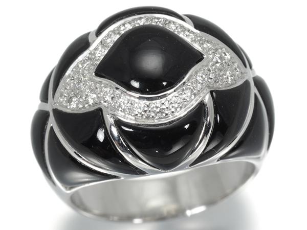 オニキス ダイヤ ダイヤモンド 0.31ct ボリューム リング K18WG【中古】GENJ