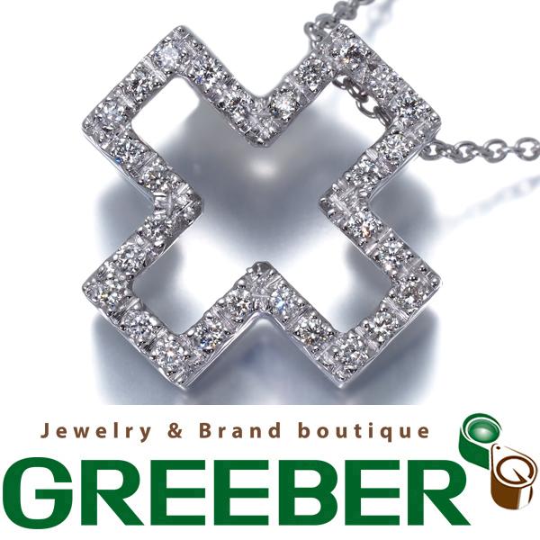 【超大幅値下げ品!】ゾッカイ ネックレス ダイヤ ダイヤモンド クロス K18WG 箱【中古】BLJ/GENJ