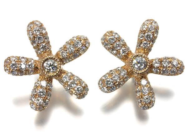 【超大幅値下げ品!】ダイヤ ダイヤモンド 0.21ct×2 ピアス 花 フラワー K18PG/YG【中古】GENJ