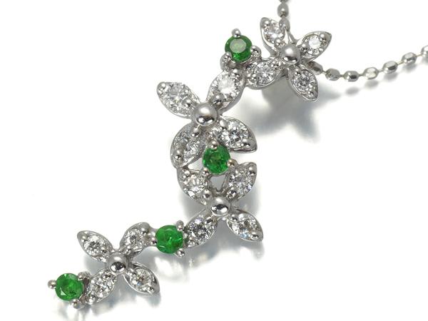 グリーンガーネット 0.22ct ダイヤ ダイヤモンド ネックレス K18WG ソーティングメモ【中古】GENJ