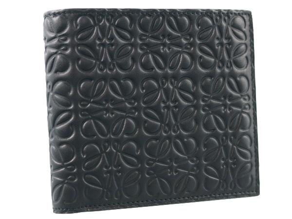 ロエベ 二つ折り財布 カードケース 型押しレザー ブラック【中古】BSK